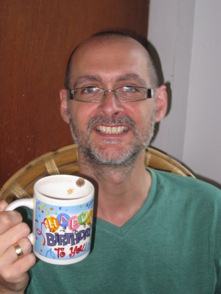 My birthday mug shot - not my best picture or joke but there you go...