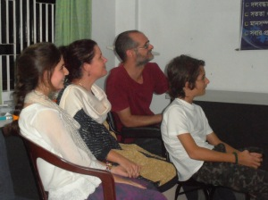 Us watching a presentation of our life in Bangladesh
