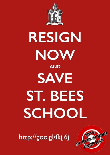 Resign now and save st bees school