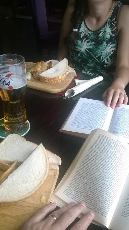Beer and book with daughter