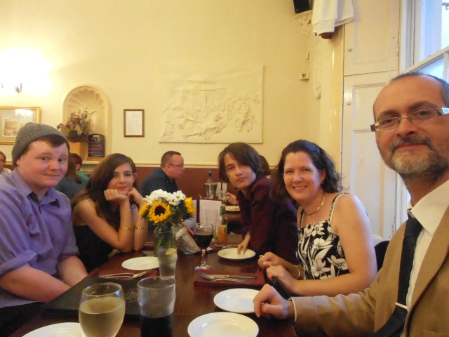All of us out for a meal recently. Happy days :)